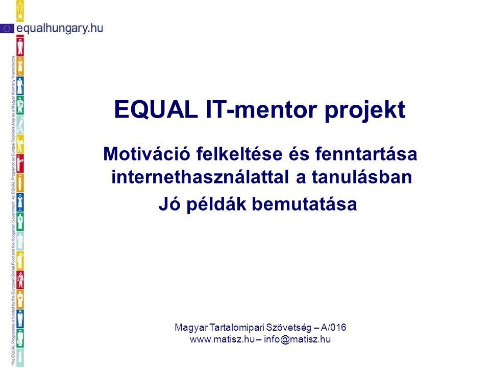 Magyar Tartalomipari Szövetség – A/016 www.matisz.hu – info@matisz.hu EQUAL IT-mentor projekt Motiváció felkeltése és fenntartása internethasználattal