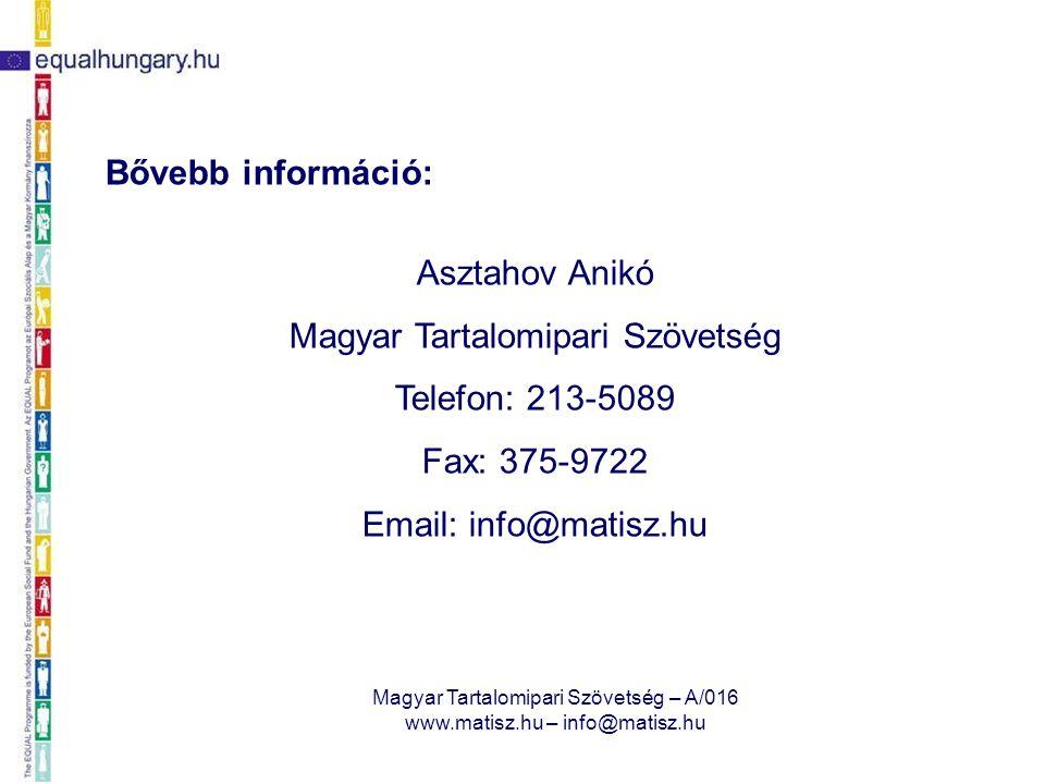 Magyar Tartalomipari Szövetség – A/016 www.matisz.hu – info@matisz.hu Bővebb információ: Asztahov Anikó Magyar Tartalomipari Szövetség Telefon: 213-50