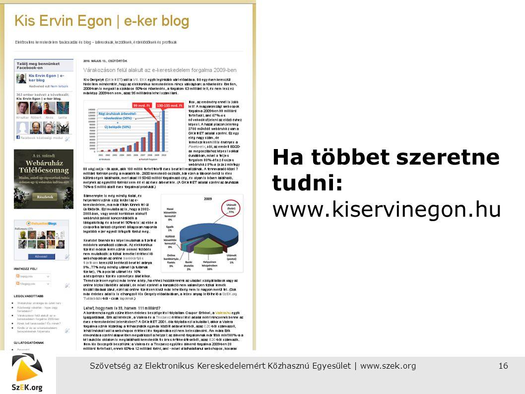 Szövetség az Elektronikus Kereskedelemért Közhasznú Egyesület | www.szek.org16 Ha többet szeretne tudni: www.kiservinegon.hu