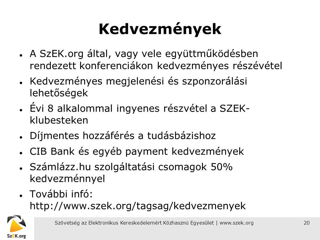 Szövetség az Elektronikus Kereskedelemért Közhasznú Egyesület | www.szek.org20 Kedvezmények A SzEK.org által, vagy vele együttműködésben rendezett kon