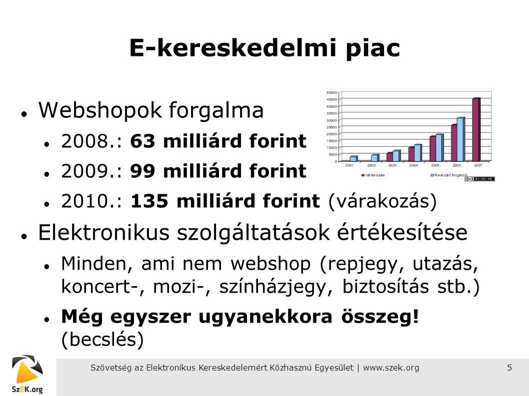 5 E-kereskedelmi piac Webshopok forgalma 2008.: 63 milliárd forint 2009.: 99 milliárd forint 2010.: 135 milliárd forint (várakozás) Elektronikus szolg
