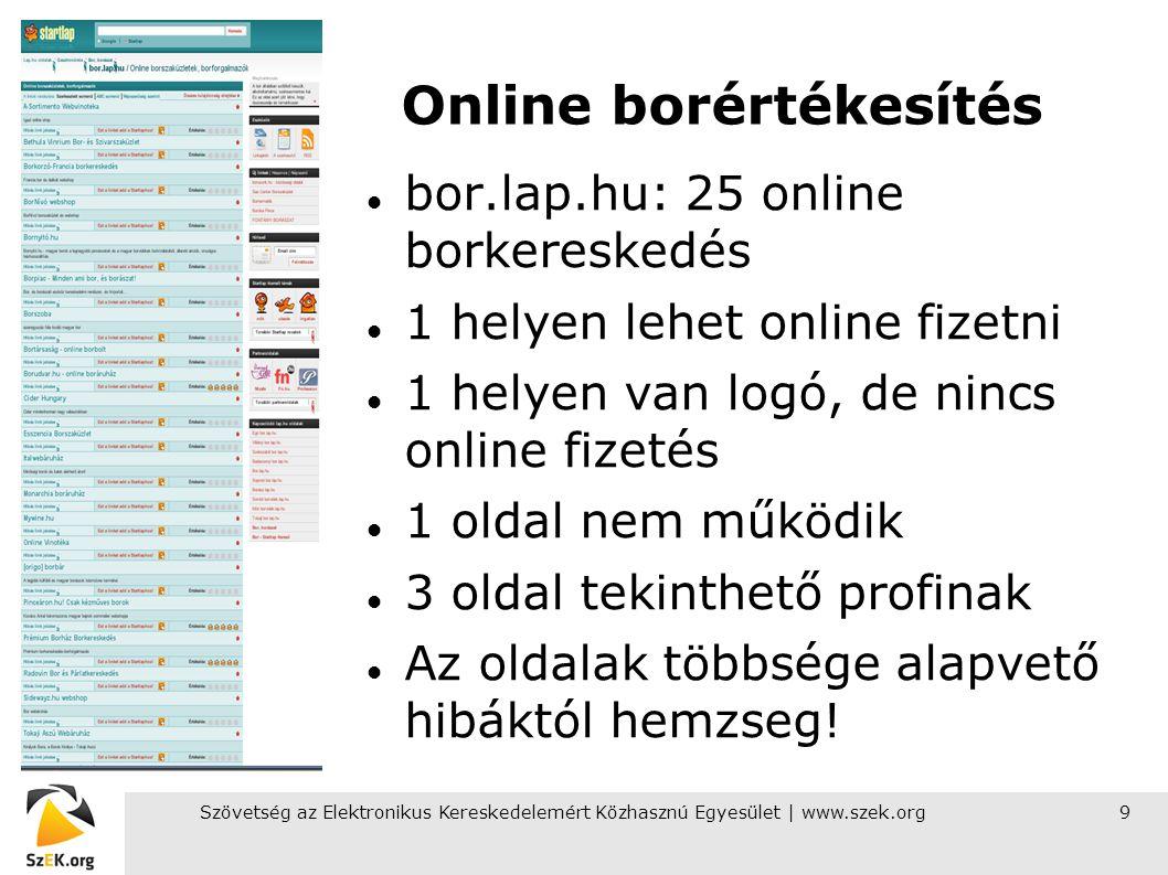Szövetség az Elektronikus Kereskedelemért Közhasznú Egyesület | www.szek.org9 Online borértékesítés bor.lap.hu: 25 online borkereskedés 1 helyen lehet