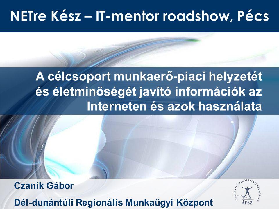 NETre Kész – IT-mentor roadshow, Pécs A célcsoport munkaerő-piaci helyzetét és életminőségét javító információk az Interneten és azok használata Czanik Gábor Dél-dunántúli Regionális Munkaügyi Központ