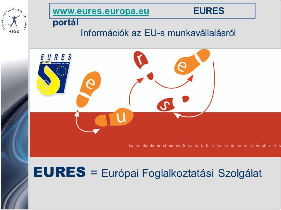 www.eures.europa.euwww.eures.europa.euEURES portál Információk az EU-s munkavállalásról EURES = Európai Foglalkoztatási Szolgálat