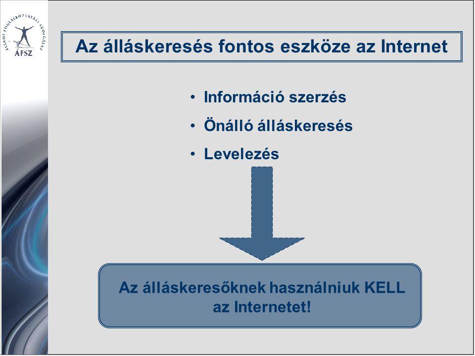 Az álláskeresés fontos eszköze az Internet Információ szerzés Önálló álláskeresés Levelezés Az álláskeresőknek használniuk KELL az Internetet!