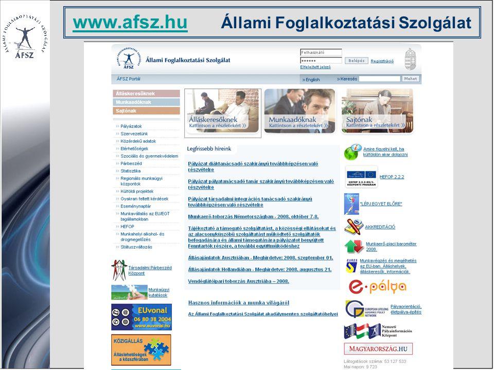 Álláskeresés Önéletrajz Munkavállalás az EU-ban Képzés Szolgáltatások Támogatások Ellátások Hasznos tudnivalók www.afsz.hu www.afsz.hu Állami Foglalkoztatási Szolgálat