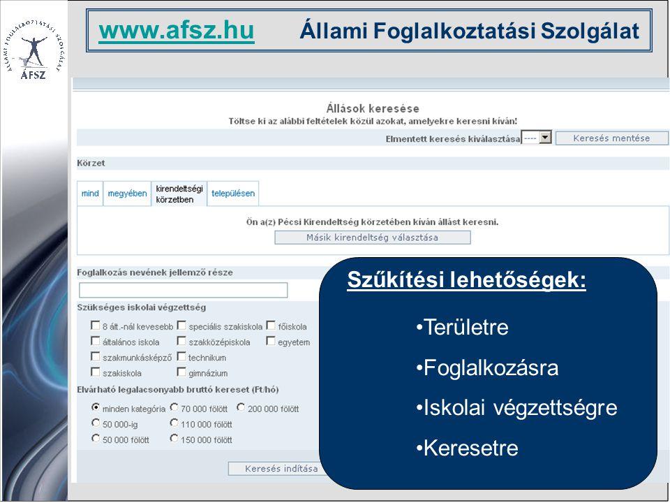 www.afsz.hu www.afsz.hu Állami Foglalkoztatási Szolgálat Szűkítési lehetőségek: Területre Foglalkozásra Iskolai végzettségre Keresetre