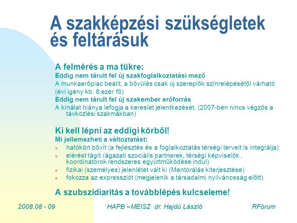 2008.08 - 09HAPB –MEISZ dr. Hajdú László RFórum A szakképzési szükségletek és feltárásuk A felmérés a ma tükre: Eddig nem tárult fel új szakfoglalkozt