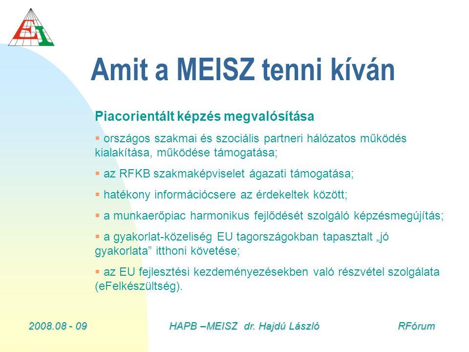 2008.08 - 09HAPB –MEISZ dr. Hajdú László RFórum Amit a MEISZ tenni kíván Piacorientált képzés megvalósítása   országos szakmai és szociális partneri