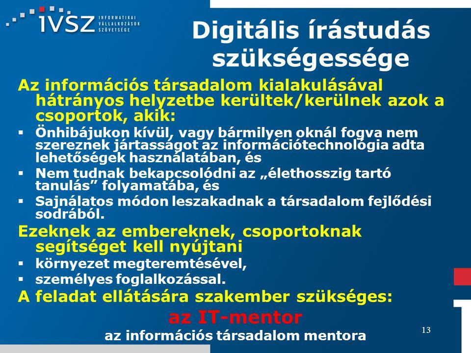 13 Digitális írástudás szükségessége Az információs társadalom kialakulásával hátrányos helyzetbe kerültek/kerülnek azok a csoportok, akik:  Önhibáju
