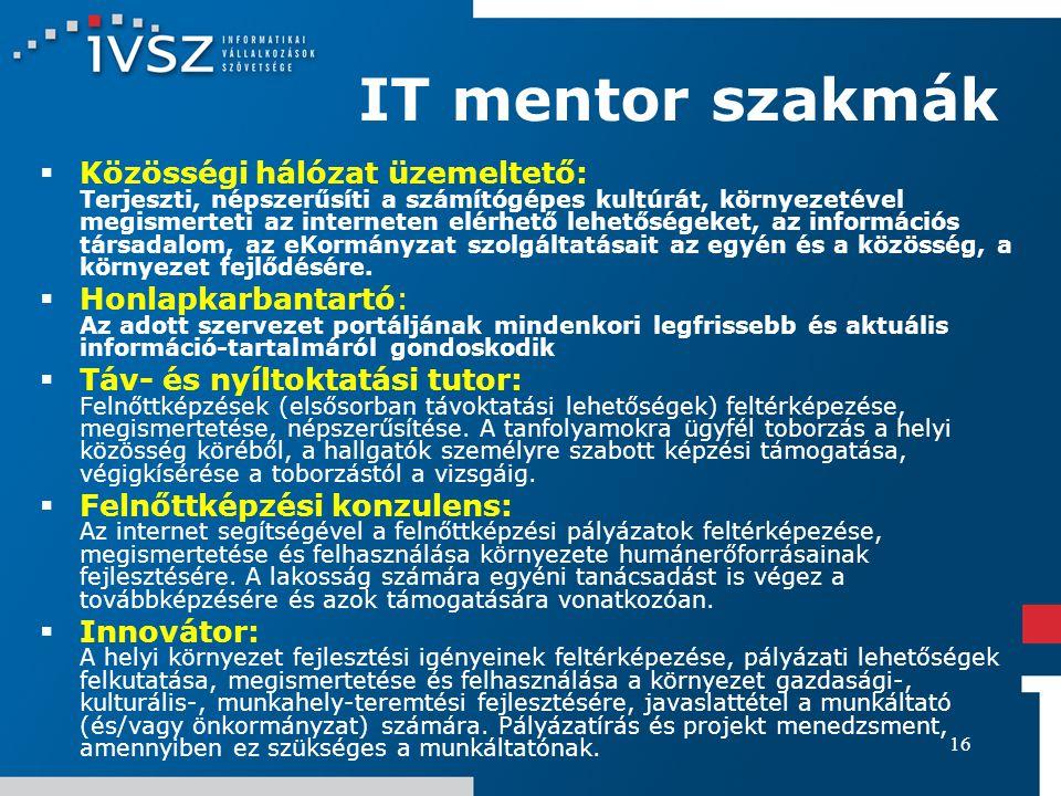 16 IT mentor szakmák  Közösségi hálózat üzemeltető: Terjeszti, népszerűsíti a számítógépes kultúrát, környezetével megismerteti az interneten elérhet