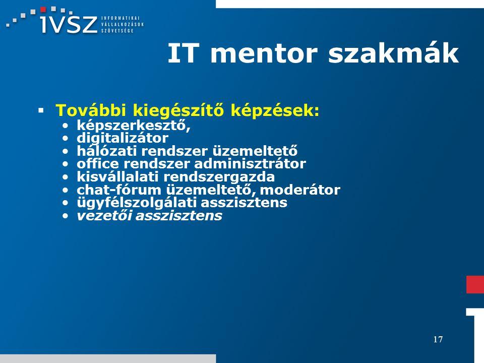 17 IT mentor szakmák  További kiegészítő képzések: képszerkesztő, digitalizátor hálózati rendszer üzemeltető office rendszer adminisztrátor kisvállal