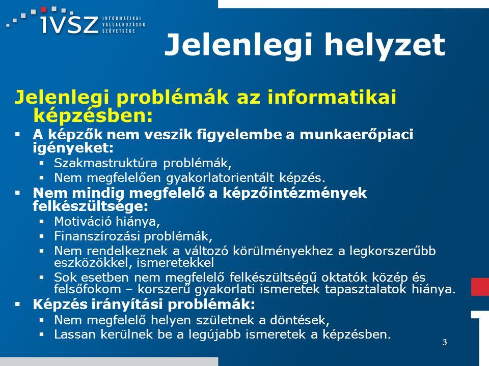 3 Jelenlegi helyzet Jelenlegi problémák az informatikai képzésben:  A képzők nem veszik figyelembe a munkaerőpiaci igényeket:  Szakmastruktúra probl