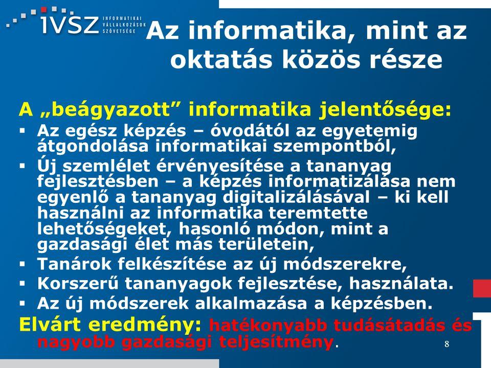 19 Beavatkozási területek az informatikai képzésben Irányítás: Szakmai szervezetek (IVSZ, VISZ, MATISZ, INFORUM, MEISZ, stb.), felhasználók érdemi beleszólásának biztosítása, feladatok megosztása.