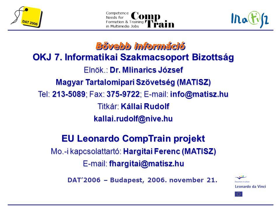 DAT'2006 – Budapest, 2006. november 21. Bővebb információ OKJ 7.