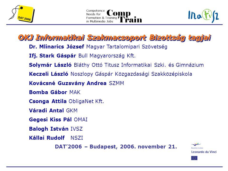 DAT'2006 – Budapest, 2006. november 21. OKJ Informatikai Szakmacsoport Bizottság tagjai Dr.