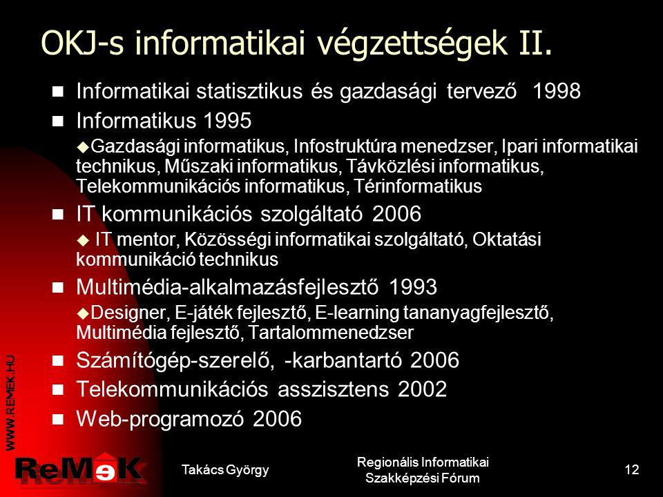 WWW.REMEK.HU Takács György Regionális Informatikai Szakképzési Fórum 11 OKJ-s informatikai végzettségek I. Adatbázis adminisztrátor 2006  Adatbázis t