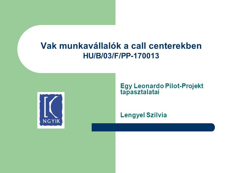 Vak munkavállalók a call centerekben HU/B/03/F/PP-170013 Egy Leonardo Pilot-Projekt tapasztalatai Lengyel Szilvia