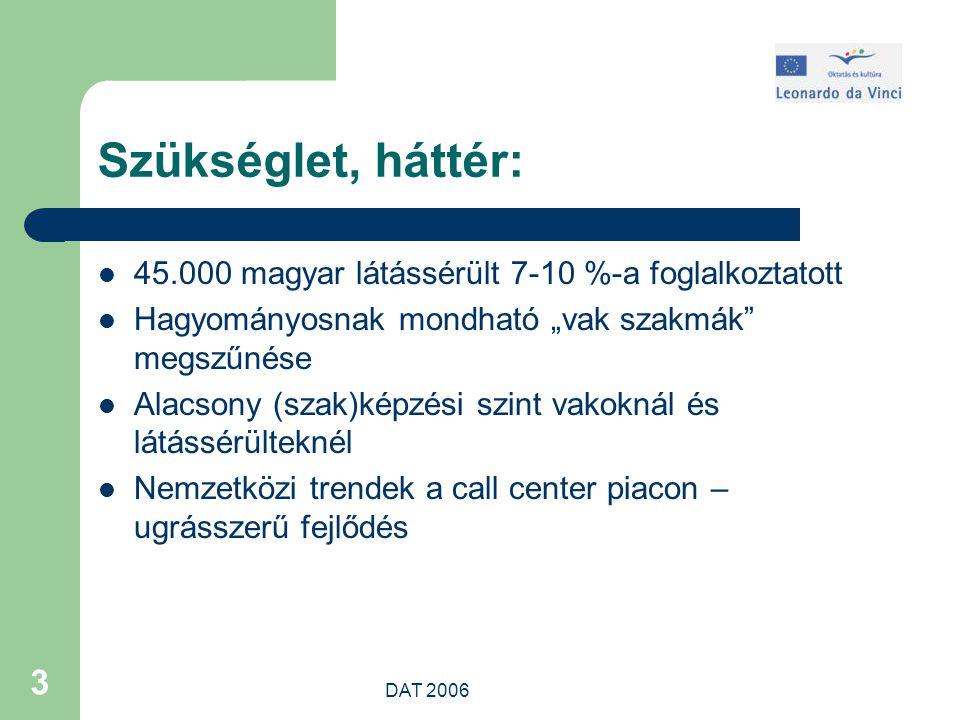 """DAT 2006 3 Szükséglet, háttér: 45.000 magyar látássérült 7-10 %-a foglalkoztatott Hagyományosnak mondható """"vak szakmák megszűnése Alacsony (szak)képzési szint vakoknál és látássérülteknél Nemzetközi trendek a call center piacon – ugrásszerű fejlődés"""