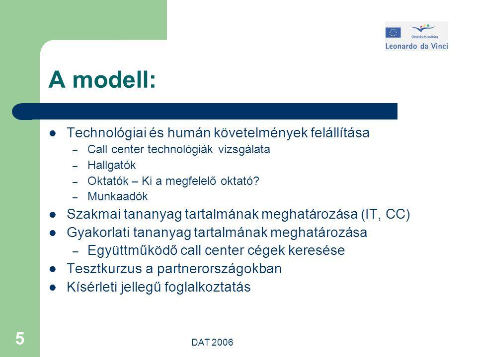 DAT 2006 5 A modell: Technológiai és humán követelmények felállítása – Call center technológiák vizsgálata – Hallgatók – Oktatók – Ki a megfelelő oktató.