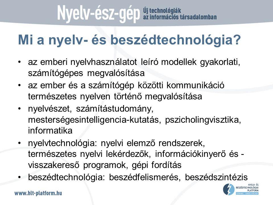 Mi a nyelv- és beszédtechnológia.