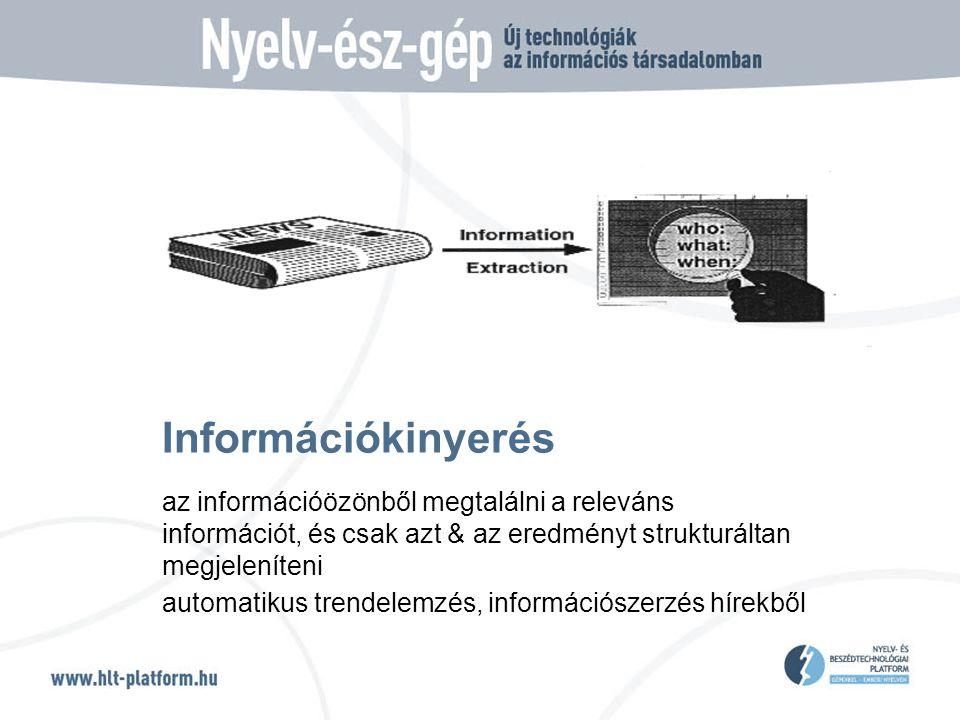 Információkinyerés az információözönből megtalálni a releváns információt, és csak azt & az eredményt strukturáltan megjeleníteni automatikus trendelemzés, információszerzés hírekből