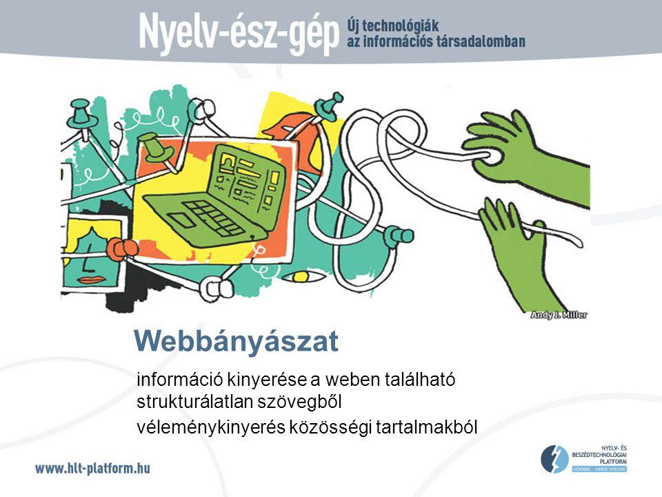 Webbányászat információ kinyerése a weben található strukturálatlan szövegből véleménykinyerés közösségi tartalmakból