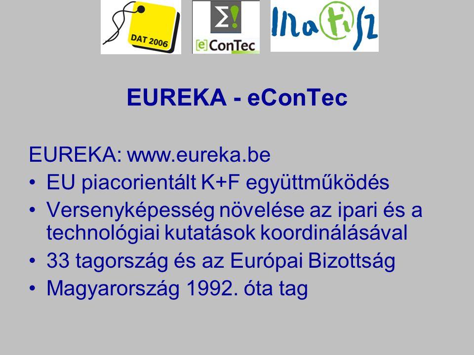EUREKA - eConTec EUREKA: www.eureka.be EU piacorientált K+F együttműködés Versenyképesség növelése az ipari és a technológiai kutatások koordinálásával 33 tagország és az Európai Bizottság Magyarország 1992.