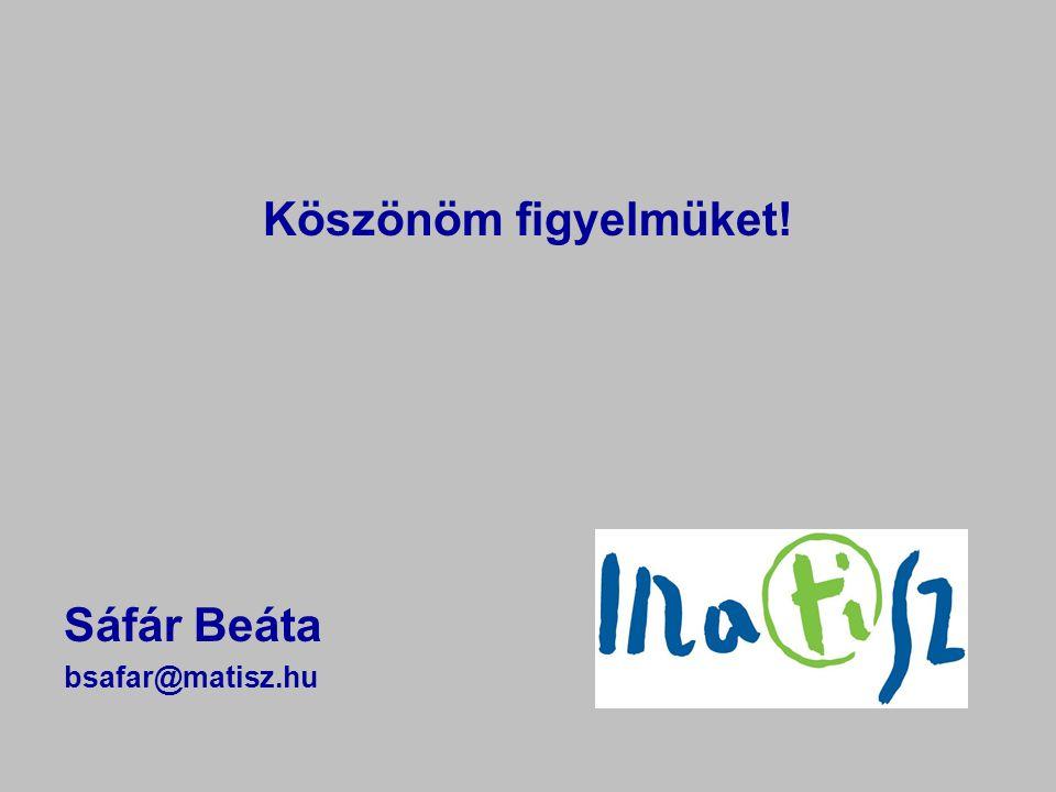Köszönöm figyelmüket! Sáfár Beáta bsafar@matisz.hu