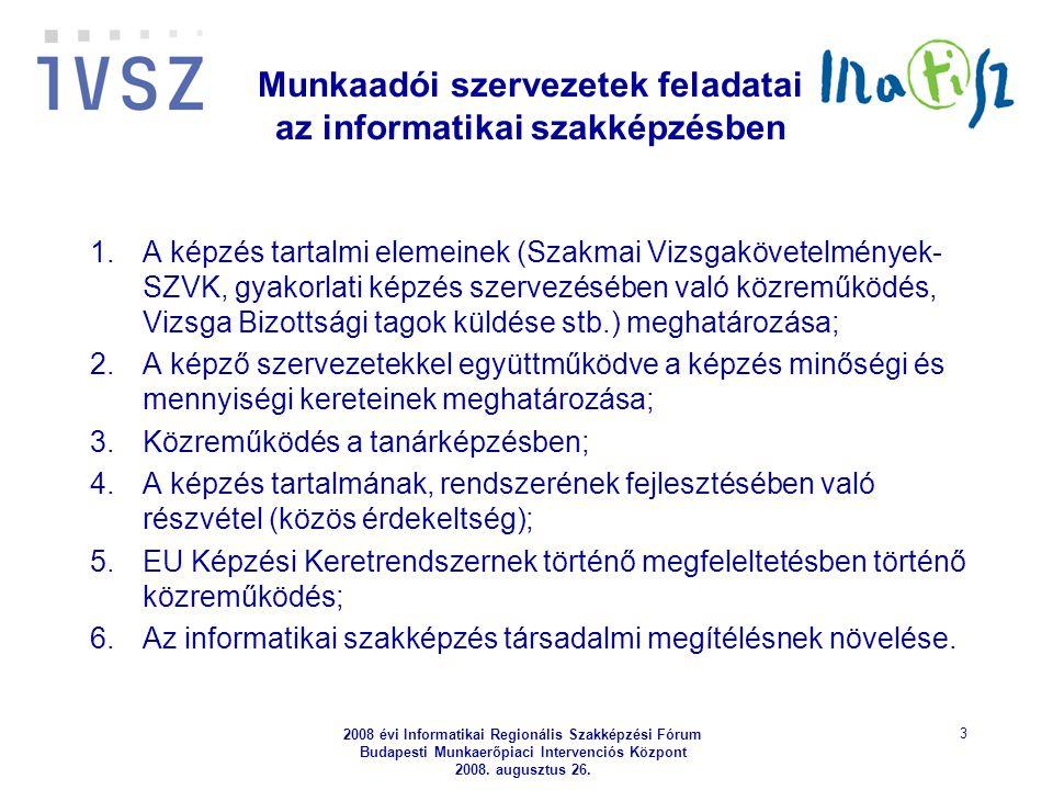 2008 évi Informatikai Regionális Szakképzési Fórum Budapesti Munkaerőpiaci Intervenciós Központ 2008. augusztus 26. 3 Munkaadói szervezetek feladatai
