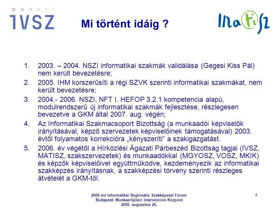 2008 évi Informatikai Regionális Szakképzési Fórum Budapesti Munkaerőpiaci Intervenciós Központ 2008. augusztus 26. 4 Mi történt idáig ? 1.2003. – 200