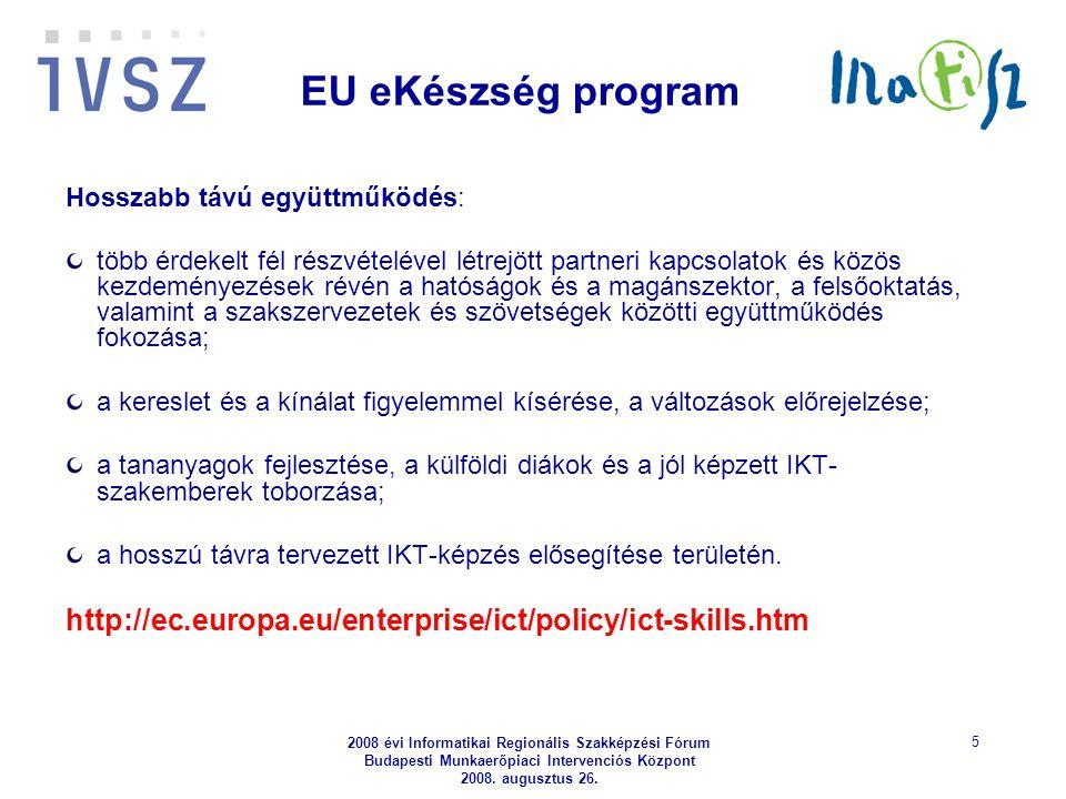 2008 évi Informatikai Regionális Szakképzési Fórum Budapesti Munkaerőpiaci Intervenciós Központ 2008. augusztus 26. 5 EU eKészség program Hosszabb táv