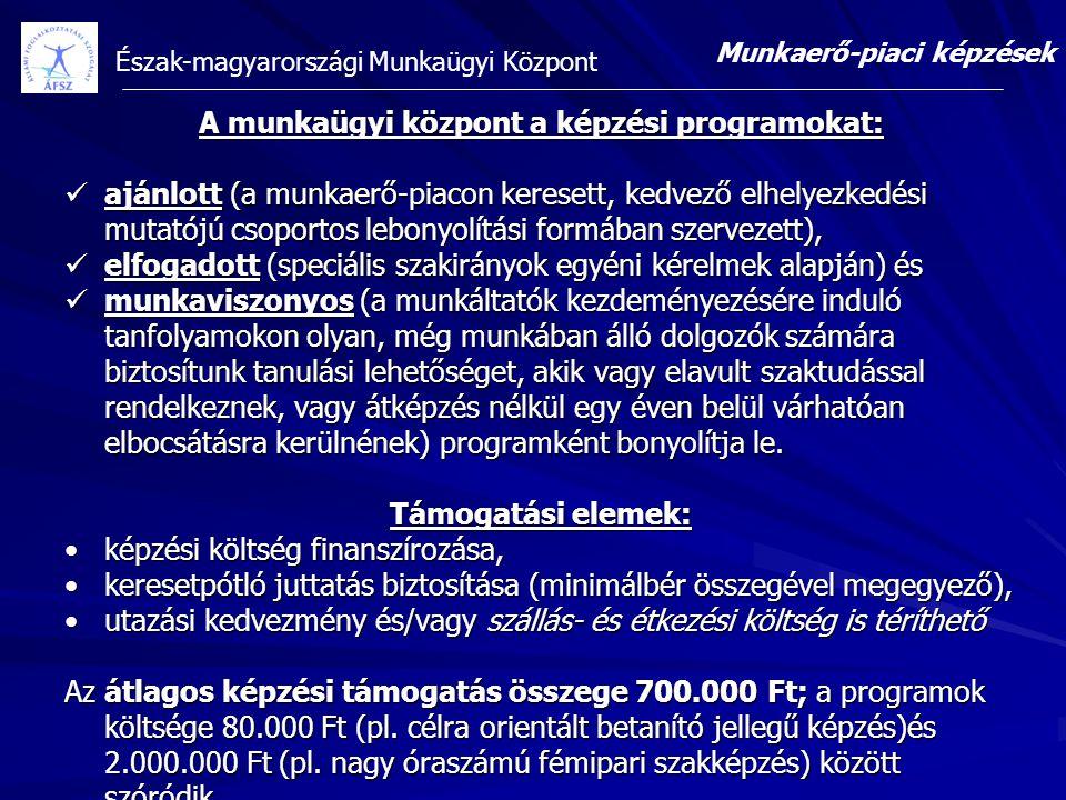 Észak-magyarországi Munkaügyi Központ A munkaügyi központ a képzési programokat: ajánlott (a munkaerő-piacon keresett, kedvező elhelyezkedési mutatójú