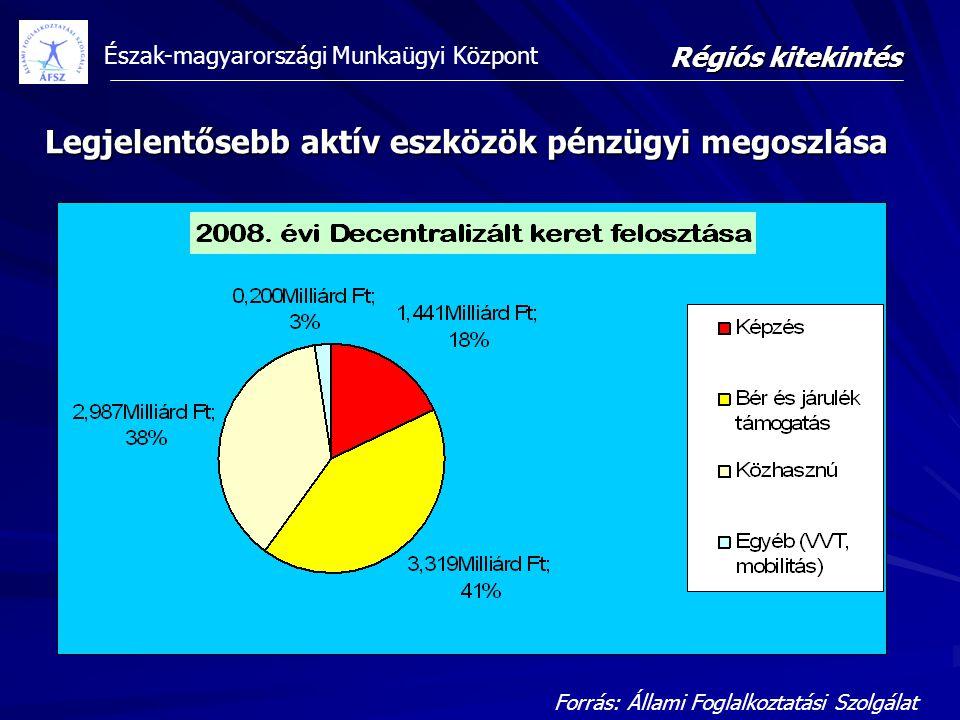 Észak-magyarországi Munkaügyi Központ Forrás: Állami Foglalkoztatási Szolgálat Régiós kitekintés Legjelentősebb aktív eszközök pénzügyi megoszlása