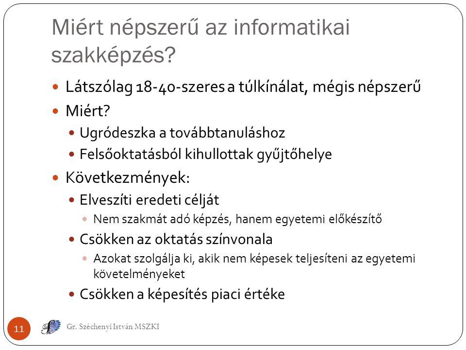 Miért népszerű az informatikai szakképzés? Gr. Széchenyi István MSZKI 11 Látszólag 18-40-szeres a túlkínálat, mégis népszerű Miért? Ugródeszka a továb