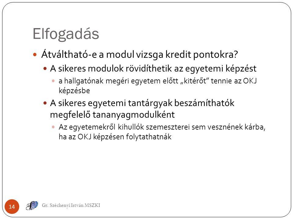 Elfogadás Gr. Széchenyi István MSZKI 14 Átváltható-e a modul vizsga kredit pontokra? A sikeres modulok rövidíthetik az egyetemi képzést a hallgatónak