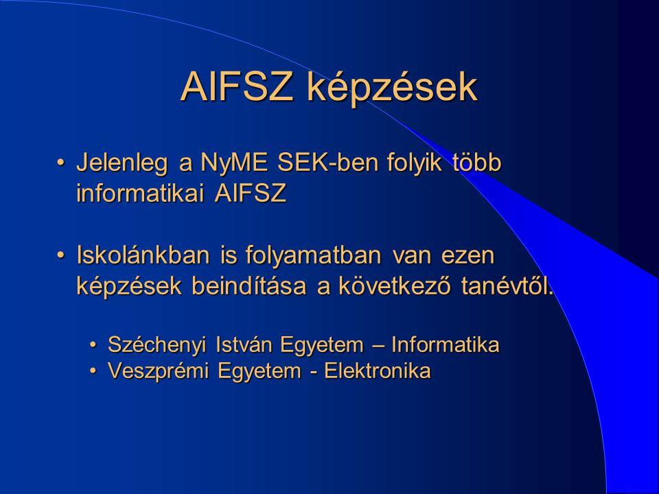 AIFSZ képzések Jelenleg a NyME SEK-ben folyik több informatikai AIFSZJelenleg a NyME SEK-ben folyik több informatikai AIFSZ Iskolánkban is folyamatban