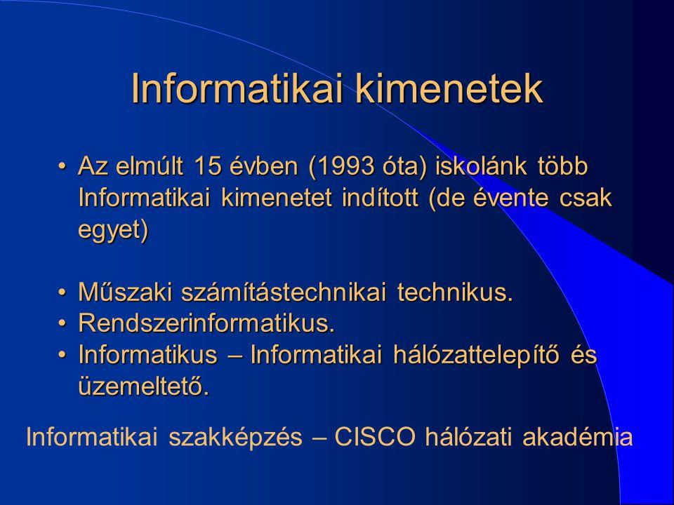 Informatikai kimenetek Az elmúlt 15 évben (1993 óta) iskolánk több Informatikai kimenetet indított (de évente csak egyet)Az elmúlt 15 évben (1993 óta)