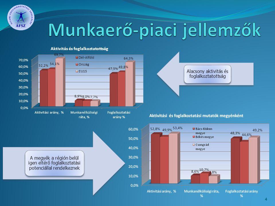 A megyék a régión belül igen eltérő foglalkoztatási potenciállal rendelkeznek Alacsony aktivitás és foglalkoztatottság 4
