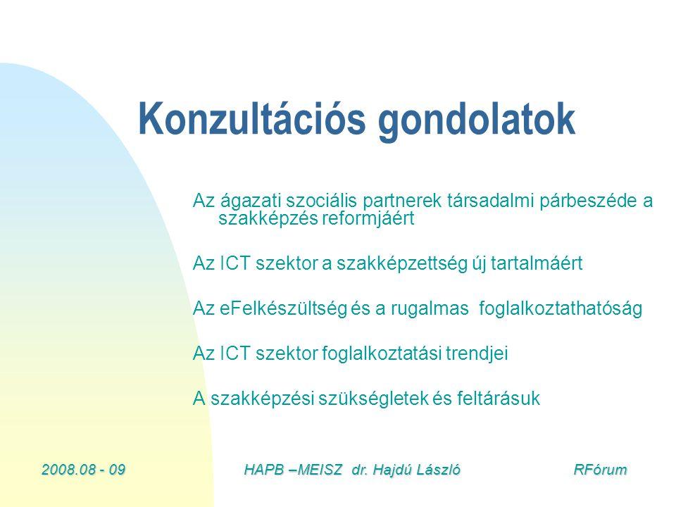 2008.08 - 09HAPB –MEISZ dr. Hajdú László RFórum Konzultációs gondolatok Az ágazati szociális partnerek társadalmi párbeszéde a szakképzés reformjáért