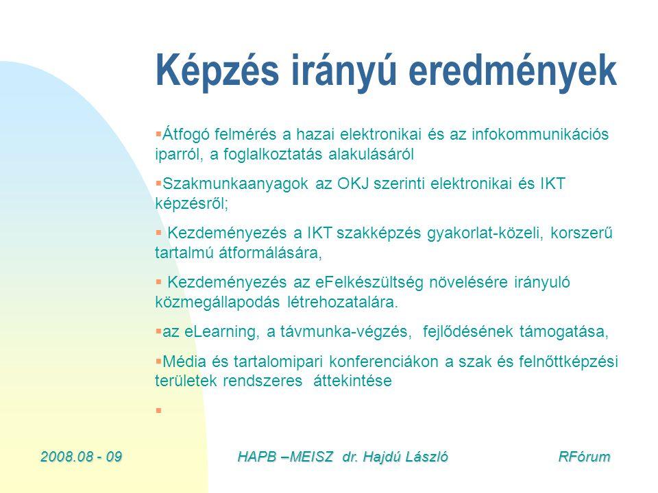 2008.08 - 09HAPB –MEISZ dr. Hajdú László RFórum Képzés irányú eredmények   Átfogó felmérés a hazai elektronikai és az infokommunikációs iparról, a f