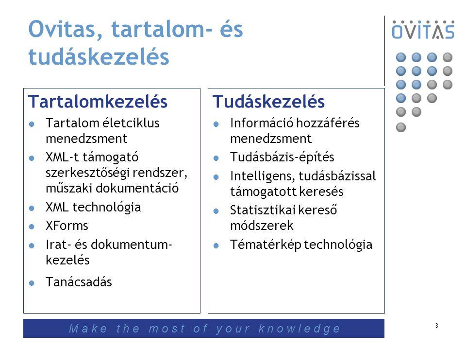 3 Ovitas, tartalom- és tudáskezelés Tartalomkezelés Tartalom életciklus menedzsment XML-t támogató szerkesztőségi rendszer, műszaki dokumentáció XML technológia XForms Irat- és dokumentum- kezelés Tanácsadás Tudáskezelés Információ hozzáférés menedzsment Tudásbázis-építés Intelligens, tudásbázissal támogatott keresés Statisztikai kereső módszerek Tématérkép technológia M a k e t h e m o s t o f y o u r k n o w l e d g e