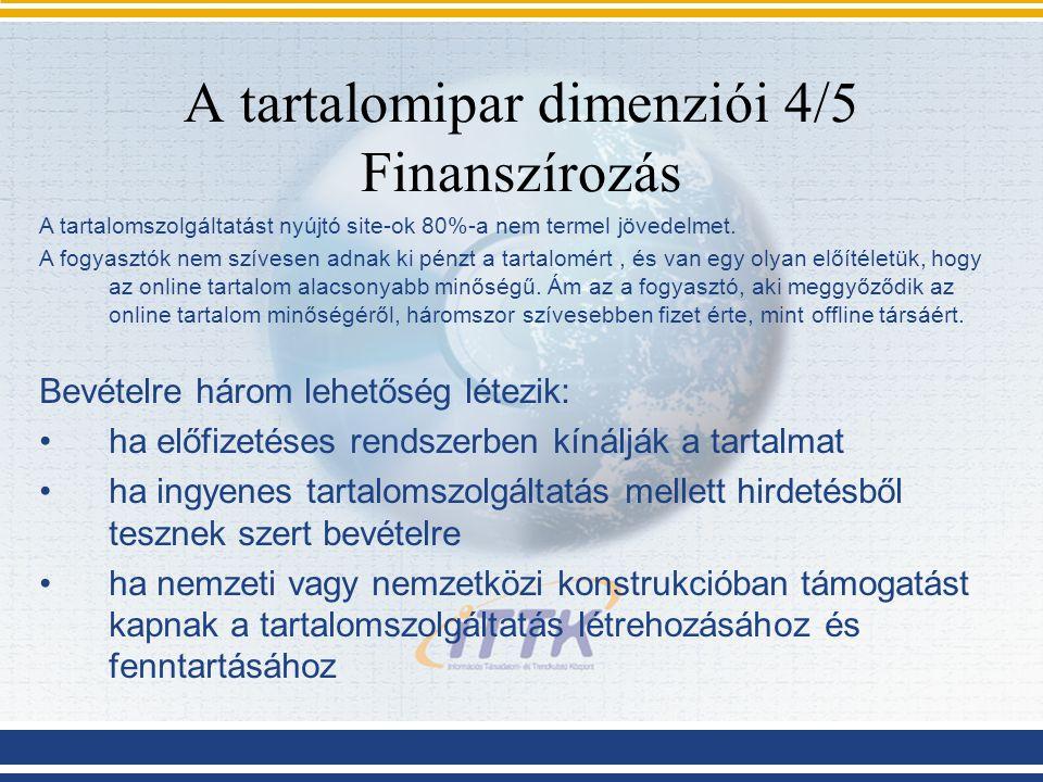A tartalomipar dimenziói 4/5 Finanszírozás A tartalomszolgáltatást nyújtó site-ok 80%-a nem termel jövedelmet. A fogyasztók nem szívesen adnak ki pénz