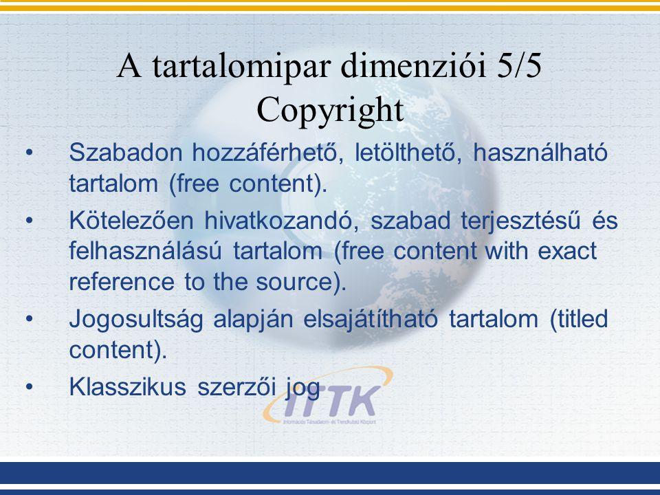 A tartalomipar dimenziói 5/5 Copyright Szabadon hozzáférhető, letölthető, használható tartalom (free content). Kötelezően hivatkozandó, szabad terjesz