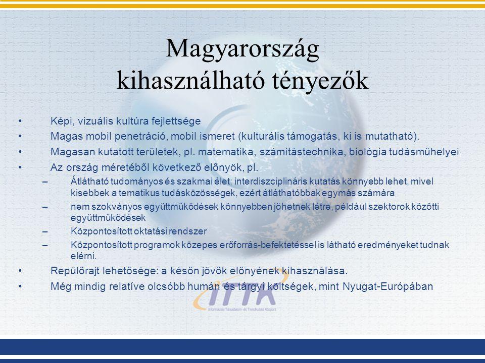 Magyarország kihasználható tényezők Képi, vizuális kultúra fejlettsége Magas mobil penetráció, mobil ismeret (kulturális támogatás, ki is mutatható).