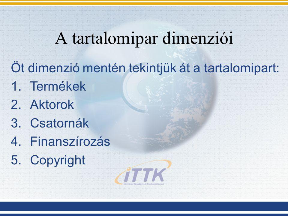 A tartalomipar dimenziói Öt dimenzió mentén tekintjük át a tartalomipart: 1.Termékek 2.Aktorok 3.Csatornák 4.Finanszírozás 5.Copyright