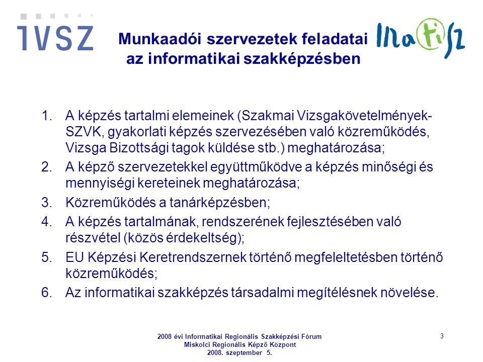 2008 évi Informatikai Regionális Szakképzési Fórum Miskolci Regionális Képző Központ 2008. szeptember 5. 3 Munkaadói szervezetek feladatai az informat