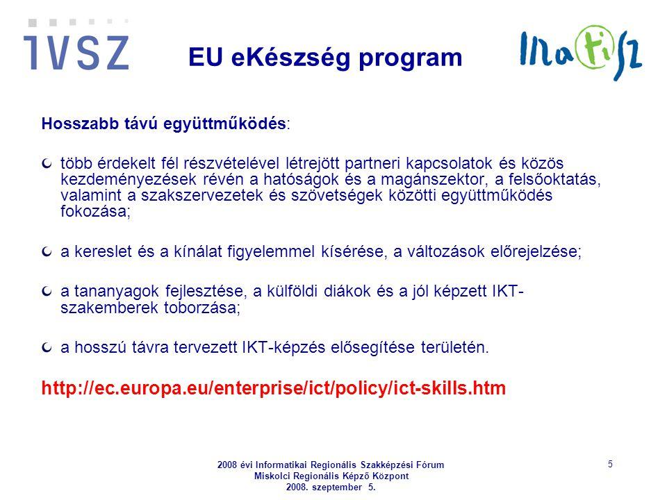 2008 évi Informatikai Regionális Szakképzési Fórum Miskolci Regionális Képző Központ 2008. szeptember 5. 5 EU eKészség program Hosszabb távú együttműk