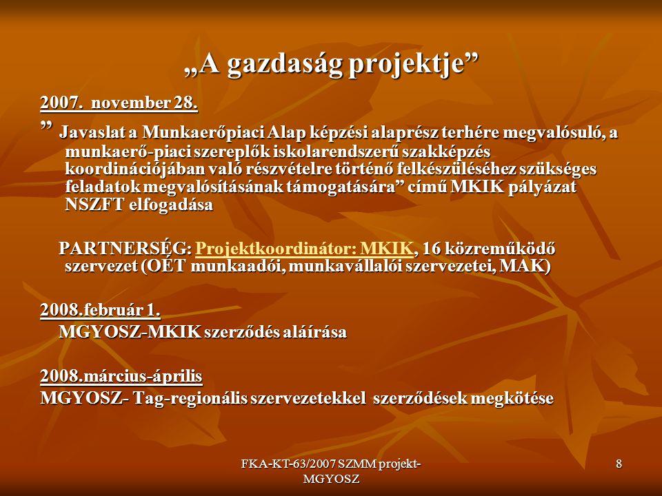 FKA-KT-63/2007 SZMM projekt- MGYOSZ 9 A MPA által támogatott partnerségi projekt távlati célja A szakképzés beiskolázási és képzési szerkezetének kialakítása regionális szinten.