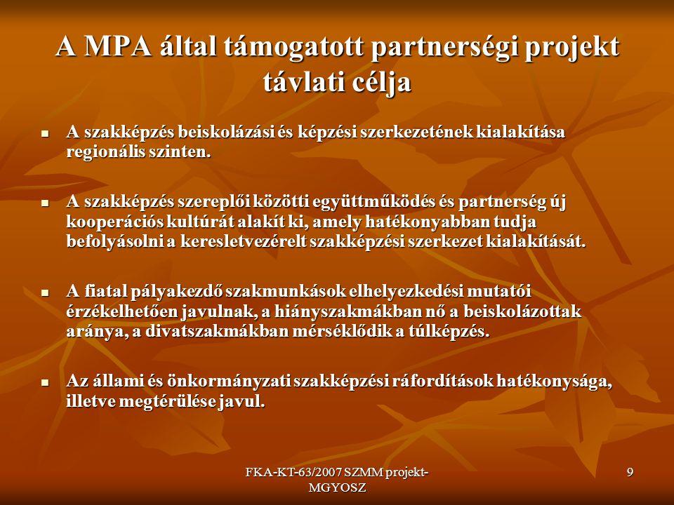 FKA-KT-63/2007 SZMM projekt- MGYOSZ 10 A projekt fő feladatai RFKB feladatok végrehajtásának támogatására regionális koordináció kialakítása, működtetése Szervezetek közötti együttműködés kiépítése 17*7 regionális koordinátor kijelölése, 17*7 regionális koordinátor kijelölése, Regionális és Országos Koordinációs Tanácsok Regionális és Országos Koordinációs Tanácsok létrehozása létrehozása Munkaerőpiaci igény gyűjtés, javaslattétel feladatvállalás: szakmák, kistérsége zártlisták, mintavállalások 7*100 céginterjú szervezetenként MKIK internetes rendszer-feldolgozás, lekérdezés, tanulmánykészítés Regionális szakmai konzultációk szervezése a vállalt szakmákban gazdálkodók, iskolák, partnerszervezetek, önkormányzatok, szakmai szervezetek, munkaügyi hivatalok részvételével (régiónként 2 konzultáció - MGYOSZ 3) (régiónként 2 konzultáció - MGYOSZ 3) Javaslatok készítése elemzések elkészítése képzési és beiskolázási szerkezetre javaslatok